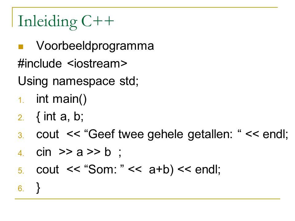 Inleiding C++ Voorbeeldprogramma #include <iostream>