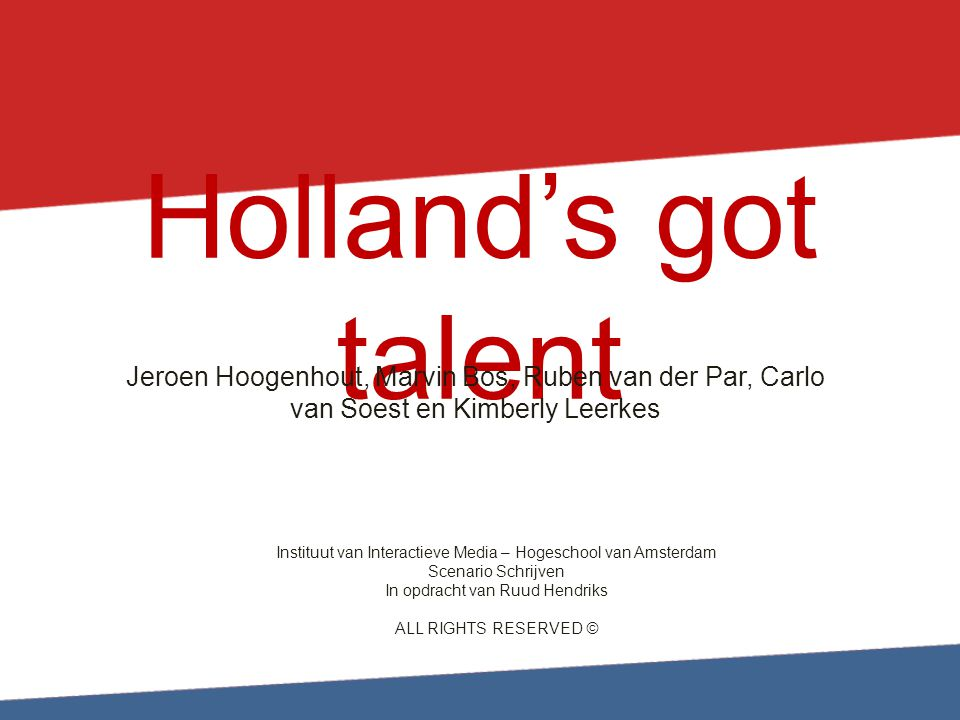 Holland's got talent Jeroen Hoogenhout, Marvin Bos, Ruben van der Par, Carlo van Soest en Kimberly Leerkes.