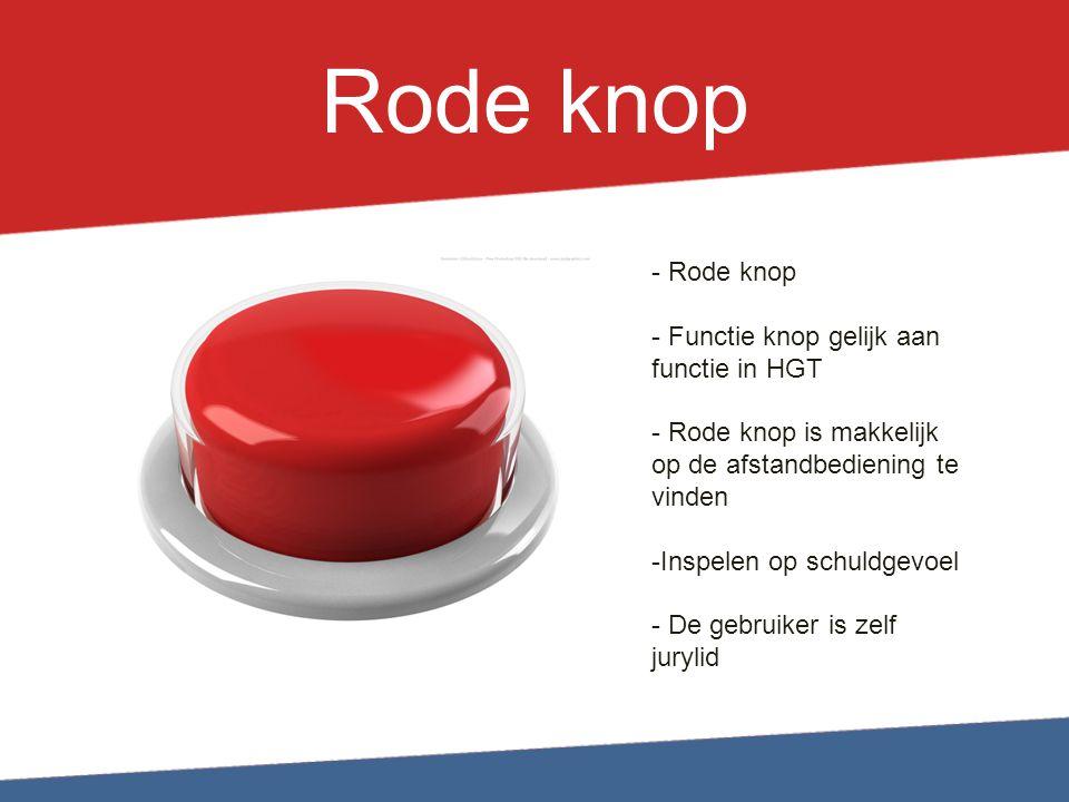 Rode knop Rode knop Functie knop gelijk aan functie in HGT
