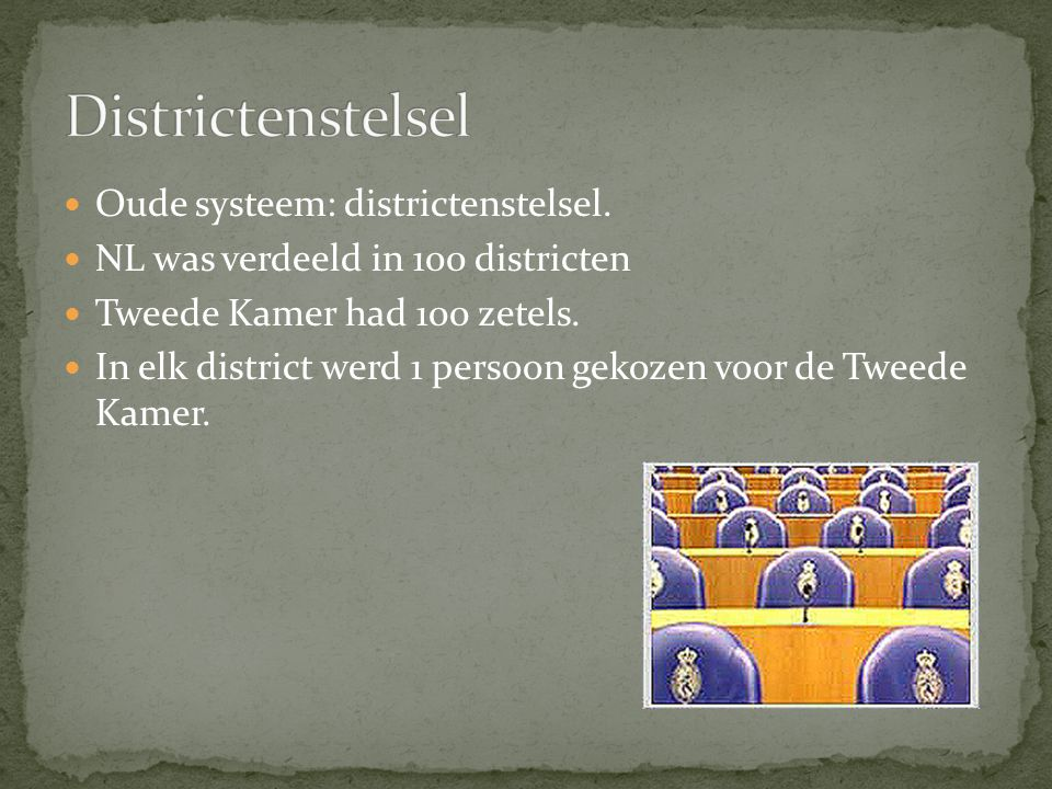 Districtenstelsel Oude systeem: districtenstelsel.