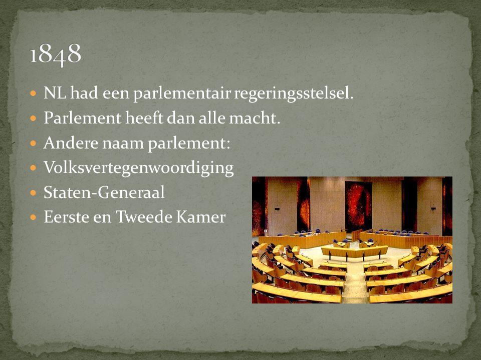 1848 NL had een parlementair regeringsstelsel.