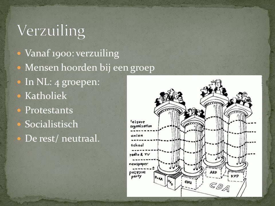 Verzuiling Vanaf 1900: verzuiling Mensen hoorden bij een groep