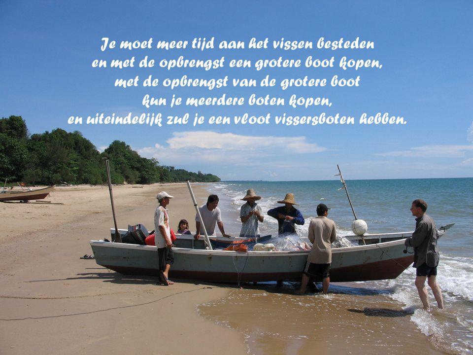 Je moet meer tijd aan het vissen besteden en met de opbrengst een grotere boot kopen, met de opbrengst van de grotere boot kun je meerdere boten kopen, en uiteindelijk zul je een vloot vissersboten hebben.