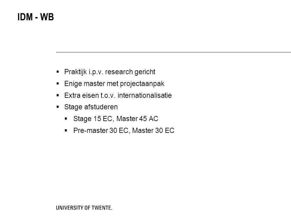 IDM - WB Praktijk i.p.v. research gericht