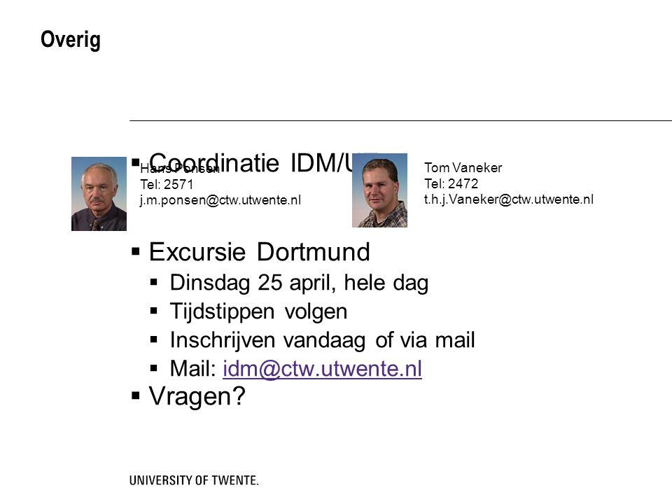 Coordinatie IDM/UT Excursie Dortmund Vragen Overig