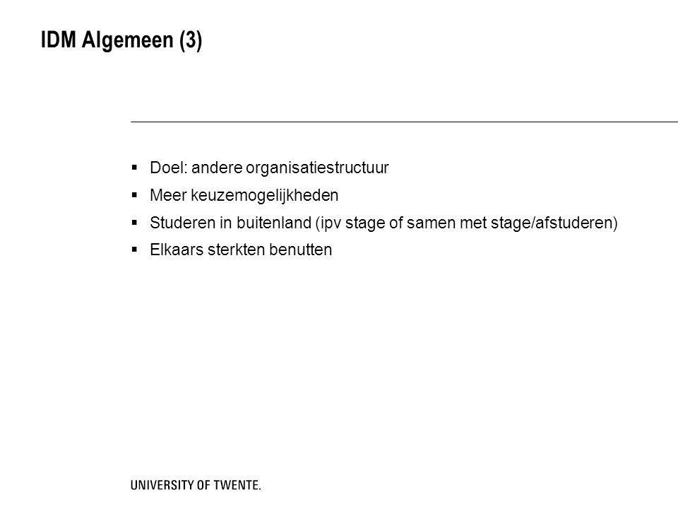 IDM Algemeen (3) Doel: andere organisatiestructuur
