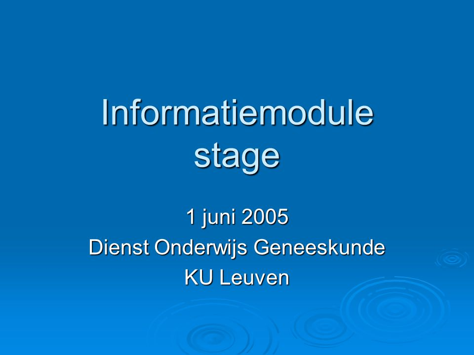 Informatiemodule stage