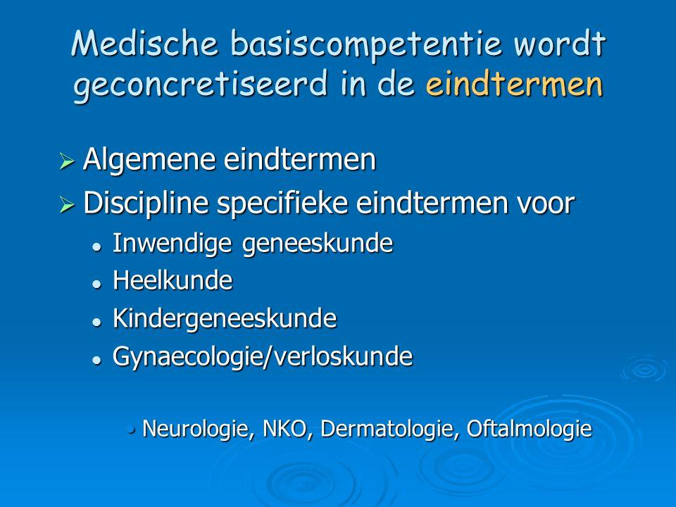 Medische basiscompetentie wordt geconcretiseerd in de eindtermen