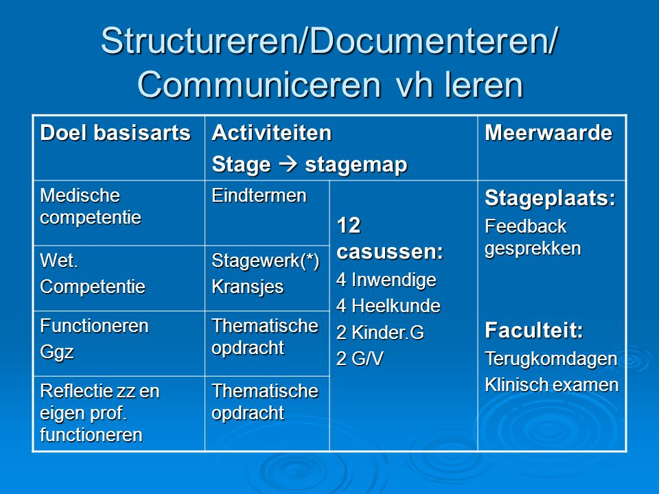 Structureren/Documenteren/ Communiceren vh leren