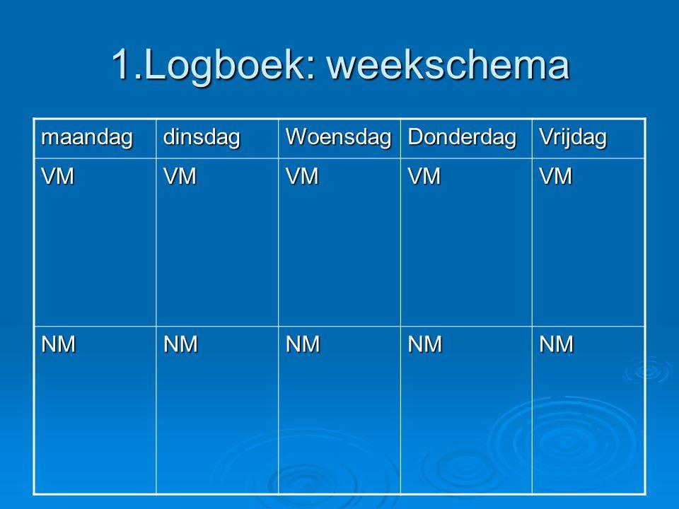 1.Logboek: weekschema maandag dinsdag Woensdag Donderdag Vrijdag VM NM