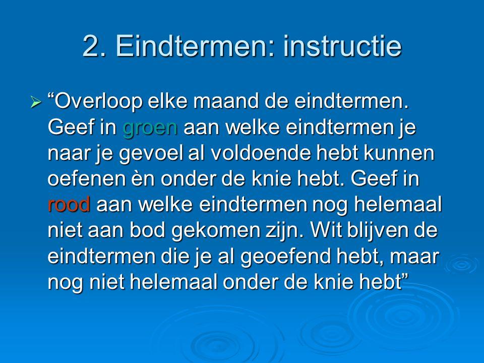 2. Eindtermen: instructie