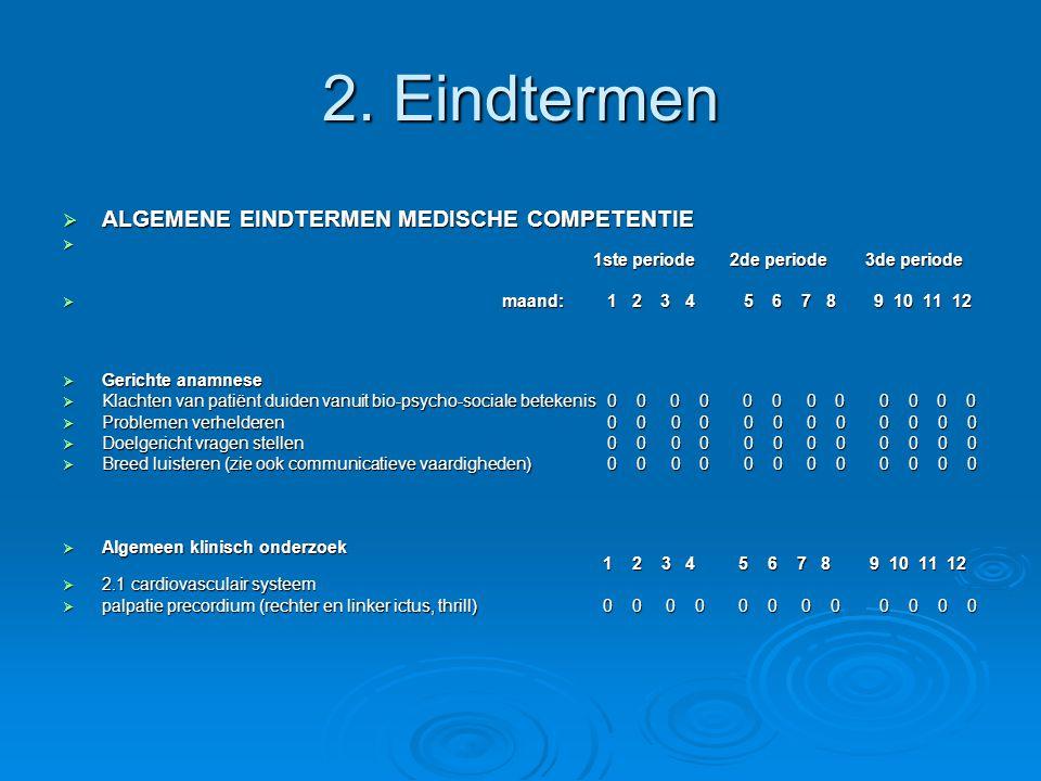 2. Eindtermen ALGEMENE EINDTERMEN MEDISCHE COMPETENTIE