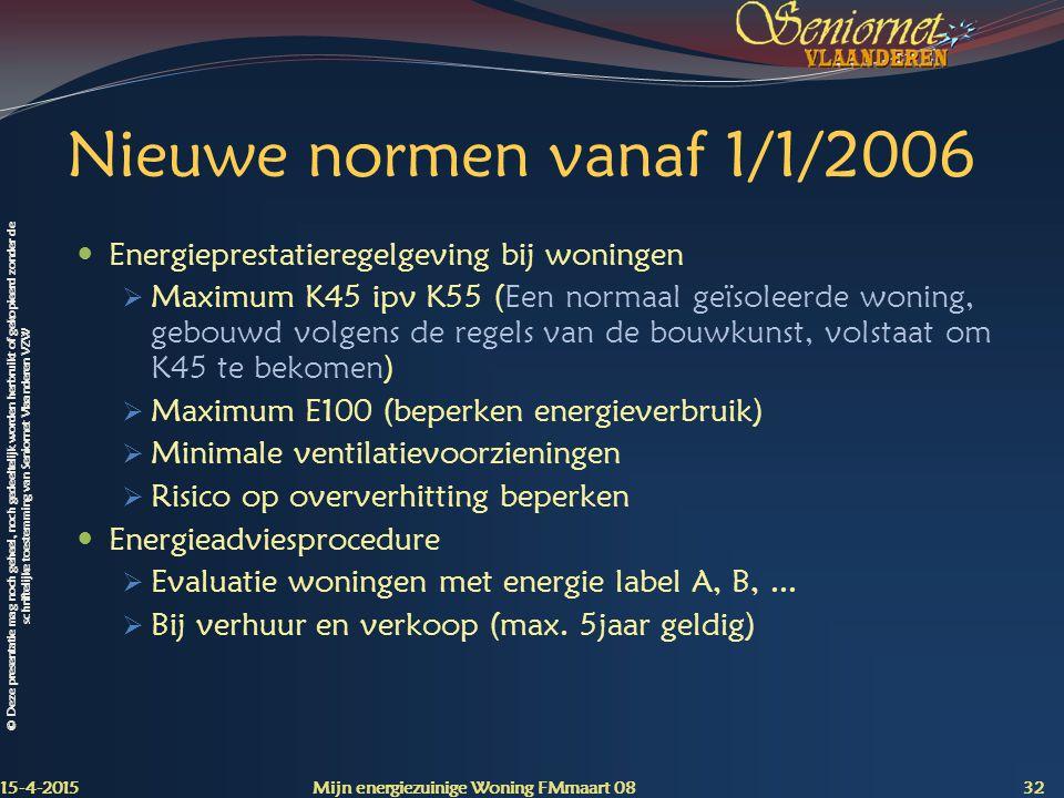 Nieuwe normen vanaf 1/1/2006 Energieprestatieregelgeving bij woningen