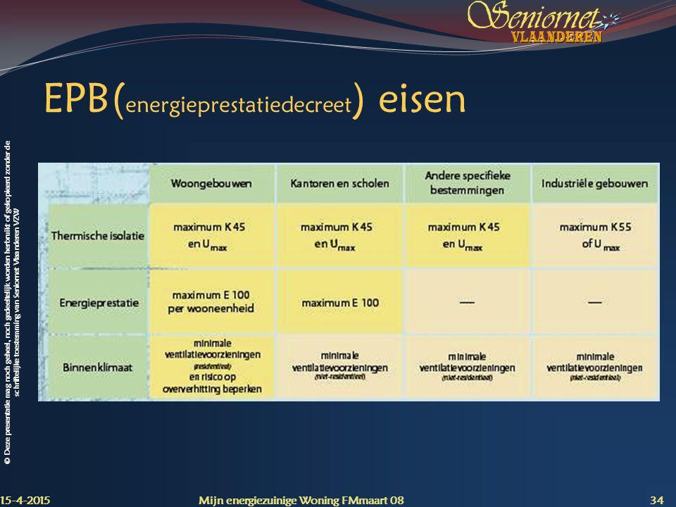 EPB(energieprestatiedecreet) eisen