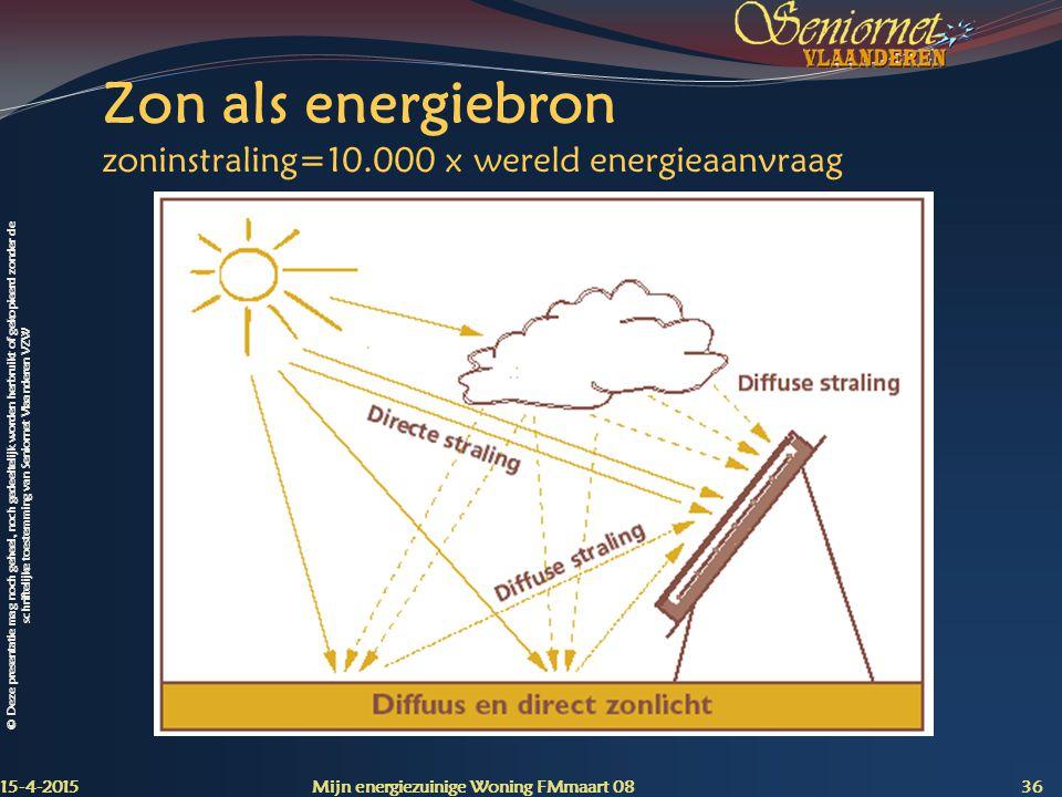 Zon als energiebron zoninstraling=10.000 x wereld energieaanvraag