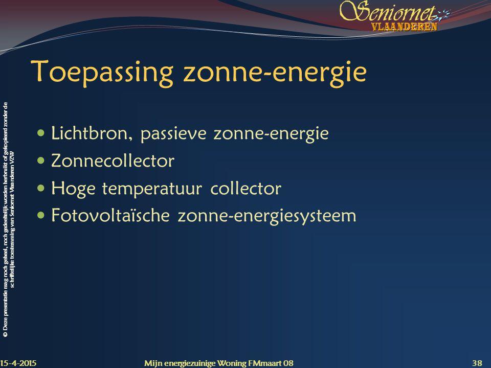Toepassing zonne-energie