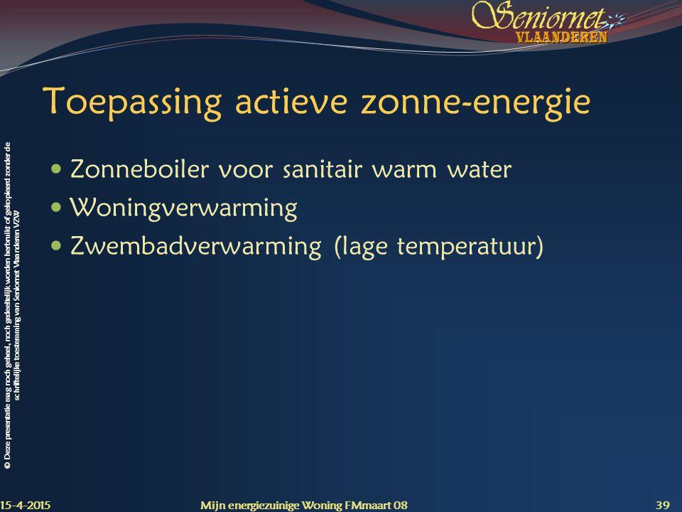 Toepassing actieve zonne-energie