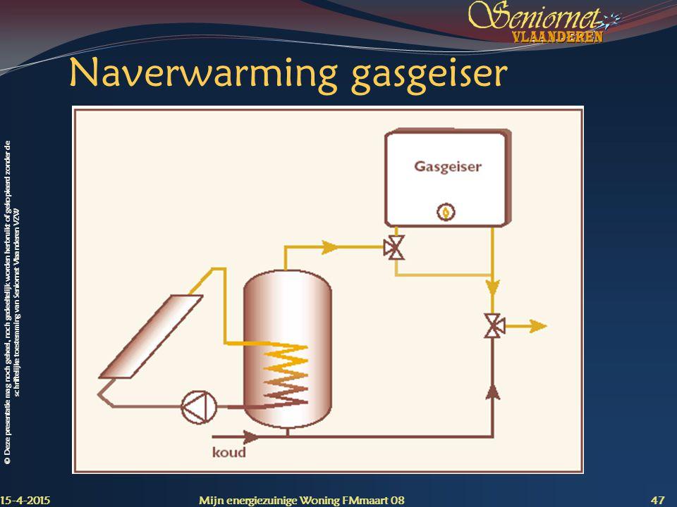 Naverwarming gasgeiser
