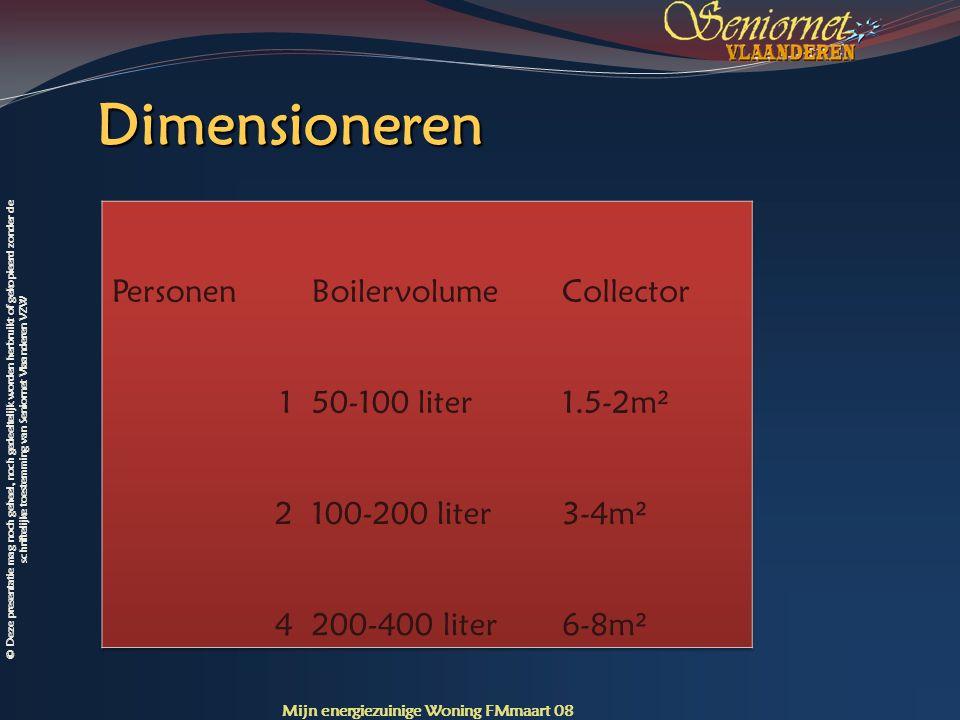 Dimensioneren Personen Boilervolume Collector 1 50-100 liter 1.5-2m² 2