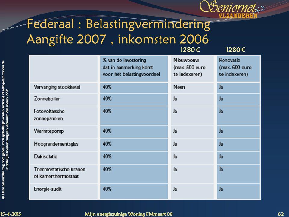 Federaal : Belastingvermindering Aangifte 2007 , inkomsten 2006
