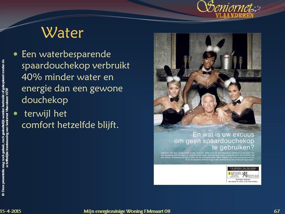 Water Een waterbesparende spaardouchekop verbruikt 40% minder water en energie dan een gewone douchekop.