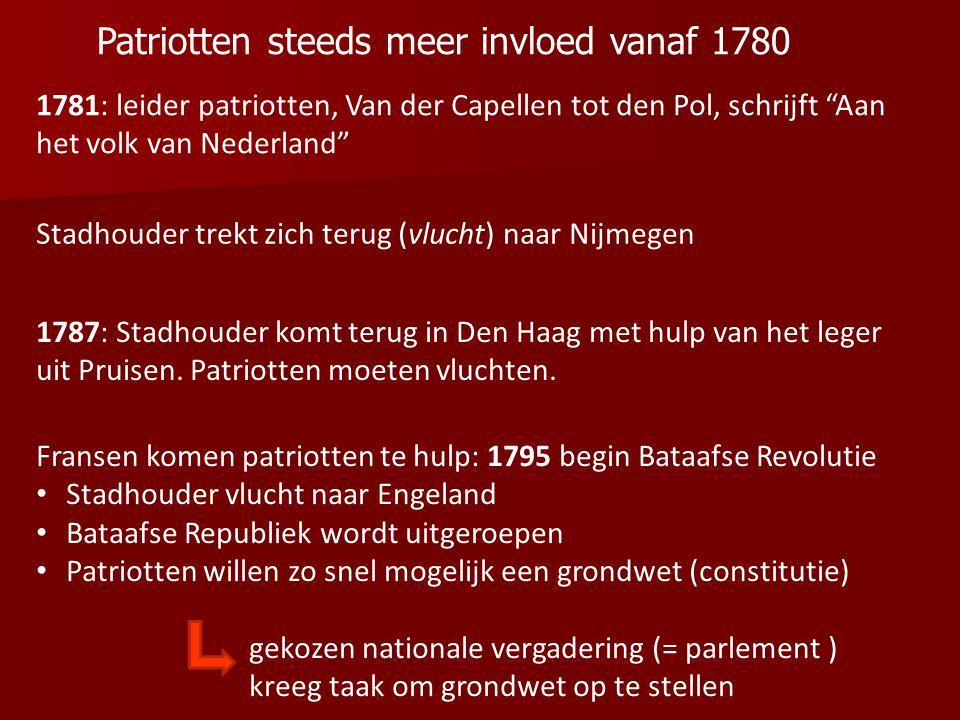 Patriotten steeds meer invloed vanaf 1780