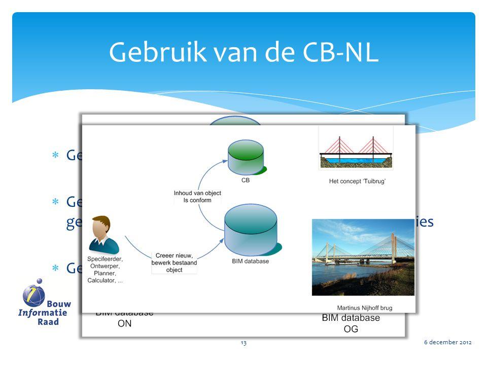 Gebruik van de CB-NL Gebruik als bibliotheek met expliciete kennis
