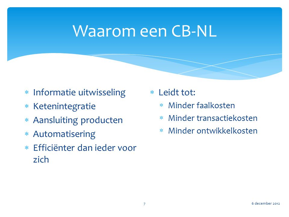 Waarom een CB-NL Informatie uitwisseling Ketenintegratie