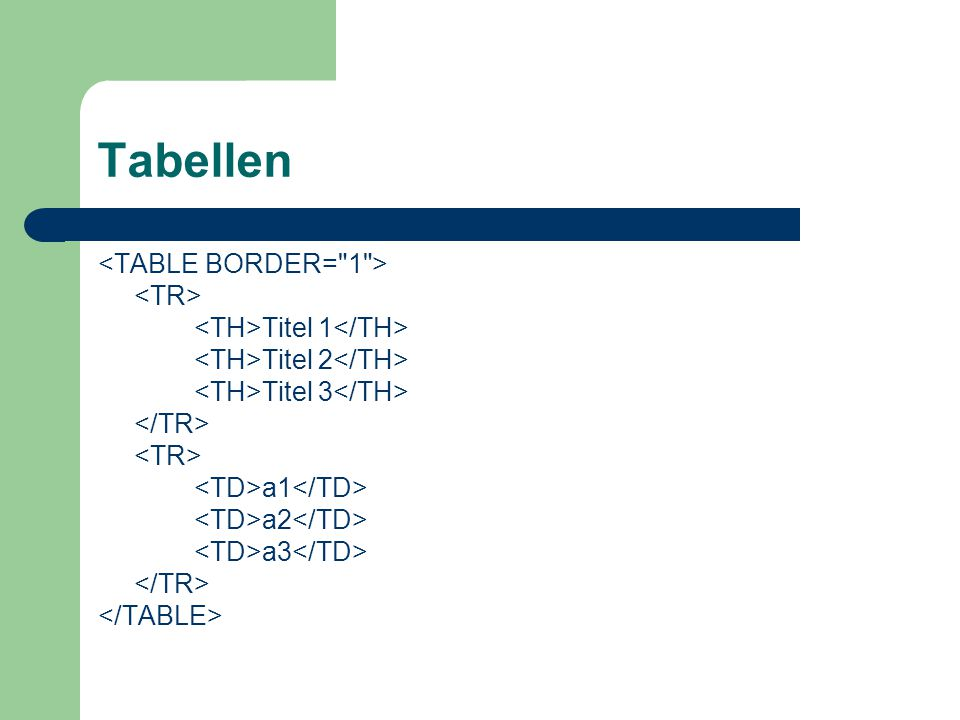 Tabellen <TABLE BORDER= 1 > <TR>