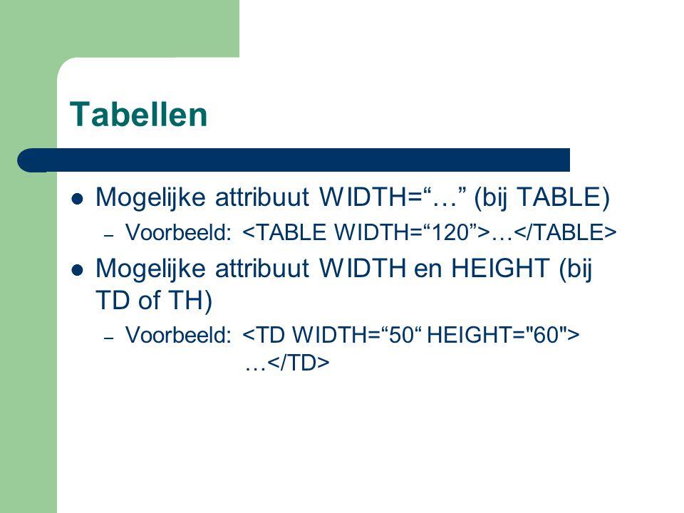 Tabellen Mogelijke attribuut WIDTH= … (bij TABLE)