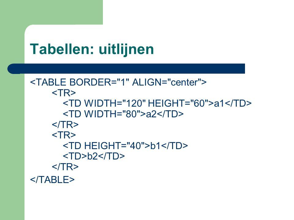 Tabellen: uitlijnen
