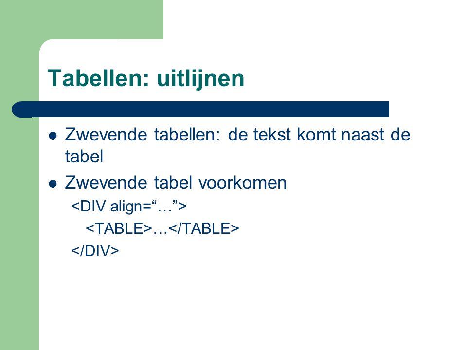 Tabellen: uitlijnen Zwevende tabellen: de tekst komt naast de tabel