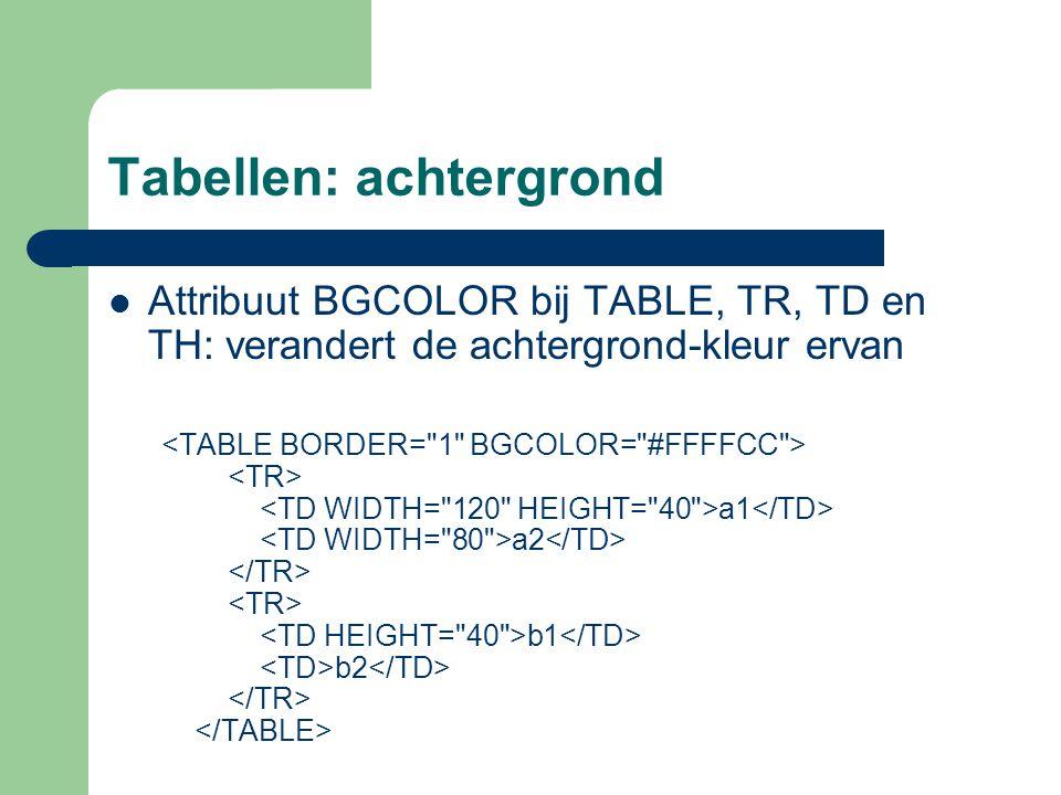 Tabellen: achtergrond