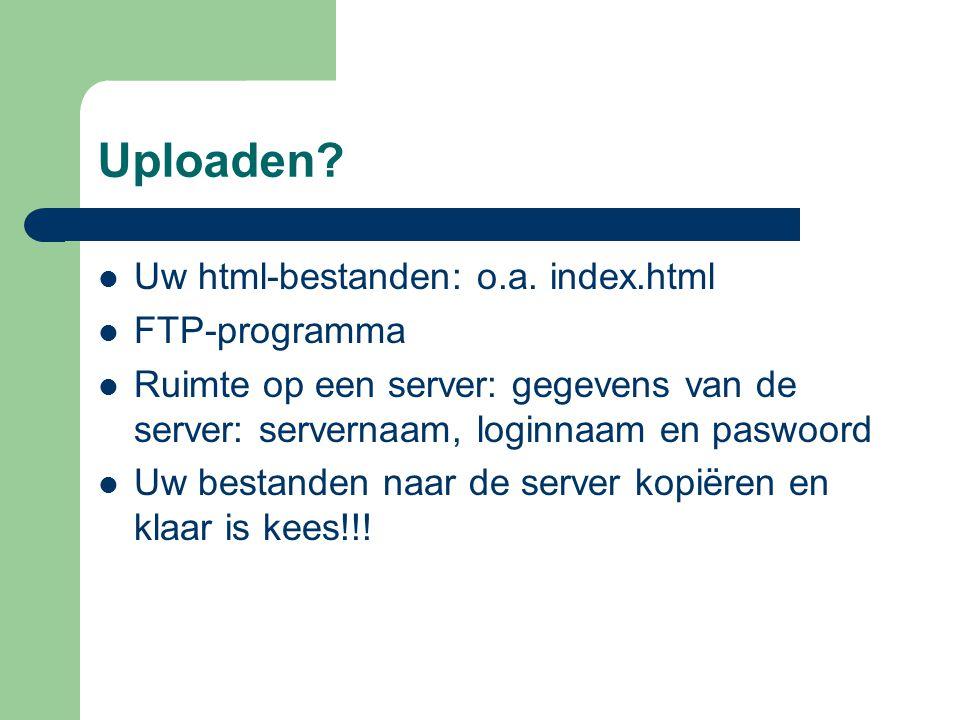 Uploaden Uw html-bestanden: o.a. index.html FTP-programma