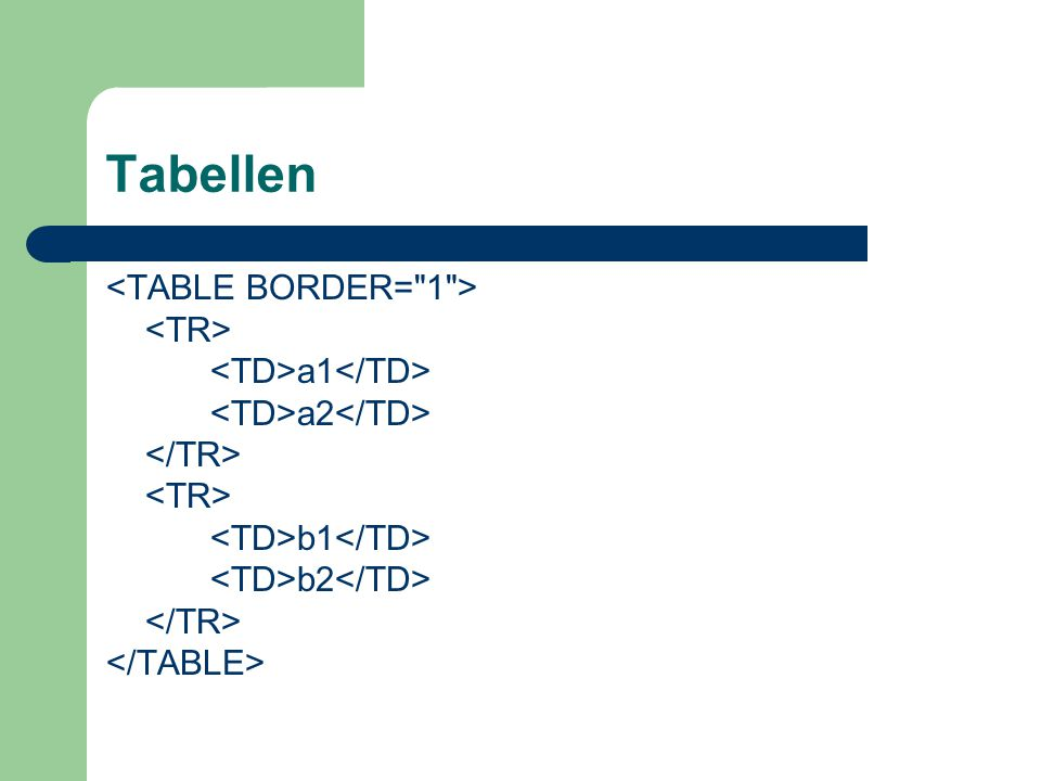 Tabellen <TABLE BORDER= 1 > <TR> <TD>a1</TD>