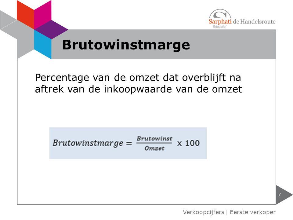 Brutowinstmarge Percentage van de omzet dat overblijft na aftrek van de inkoopwaarde van de omzet.