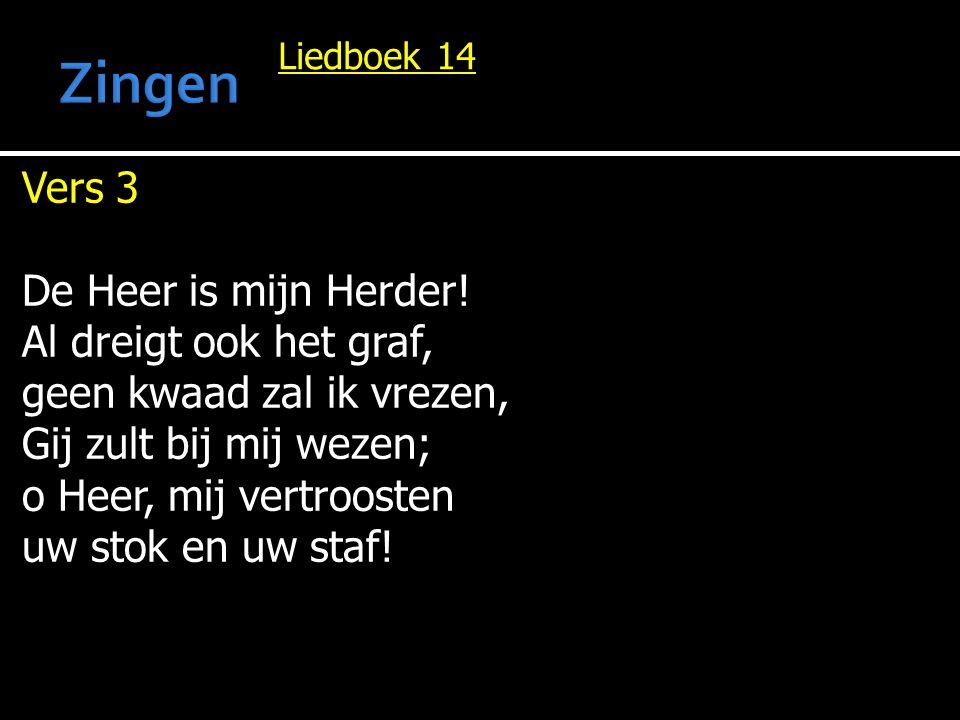 Zingen Vers 3 De Heer is mijn Herder! Al dreigt ook het graf,