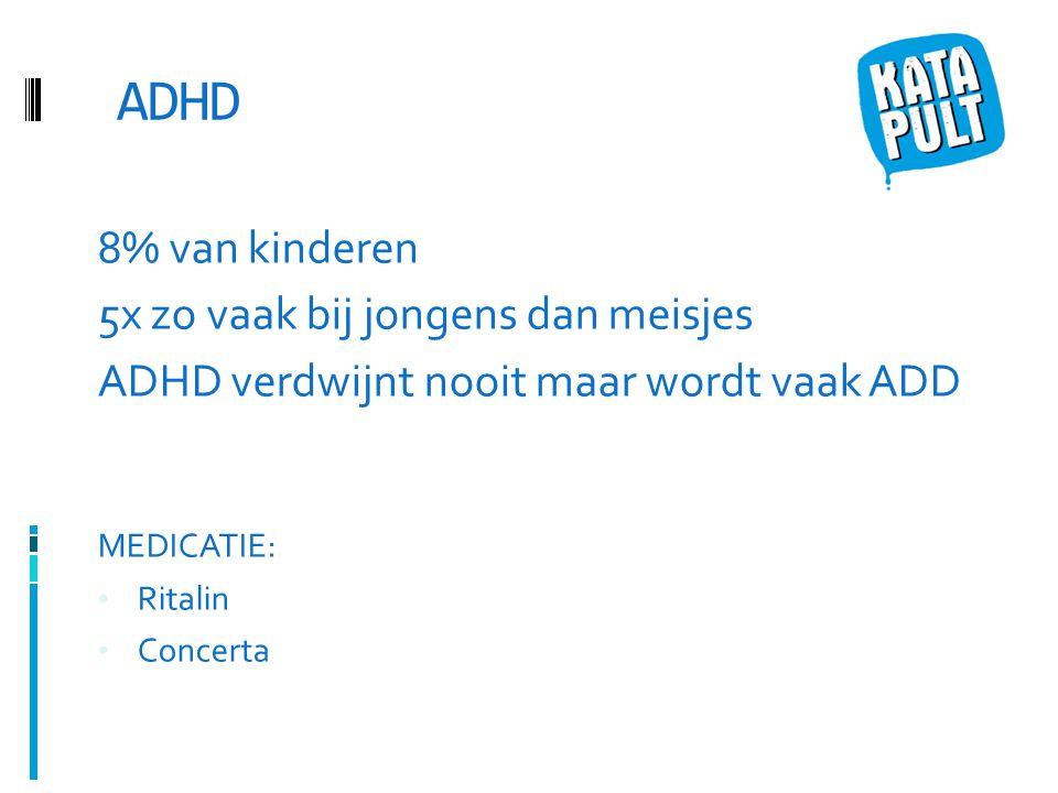 ADHD 8% van kinderen 5x zo vaak bij jongens dan meisjes