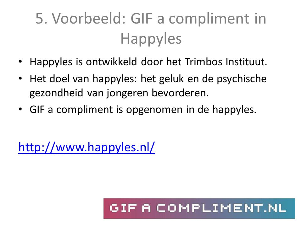 5. Voorbeeld: GIF a compliment in Happyles