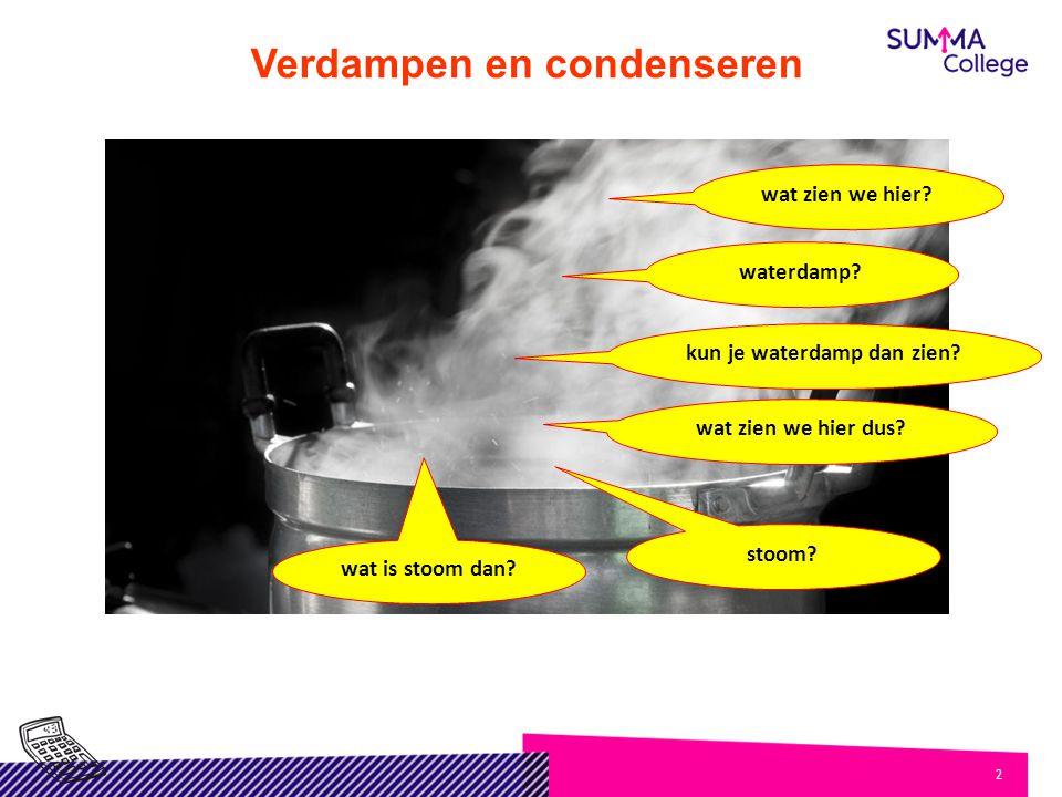 Verdampen en condenseren kun je waterdamp dan zien