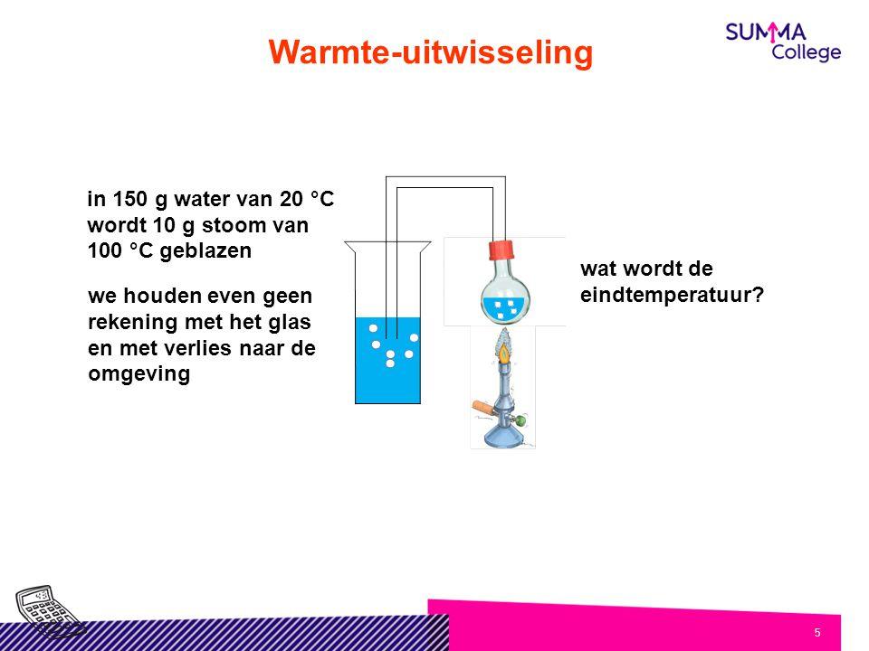 Warmte-uitwisseling in 150 g water van 20 °C wordt 10 g stoom van 100 °C geblazen. wat wordt de eindtemperatuur
