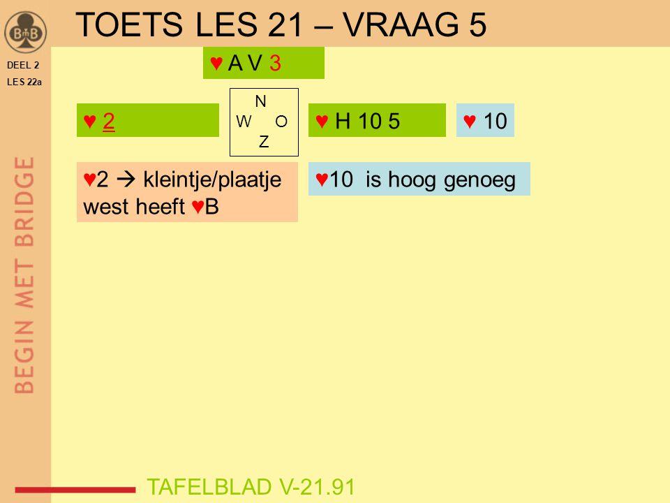TOETS LES 21 – VRAAG 5 ♥ A V 3 ♥ 2 ♥ H 10 5 ♥ 10 ♥