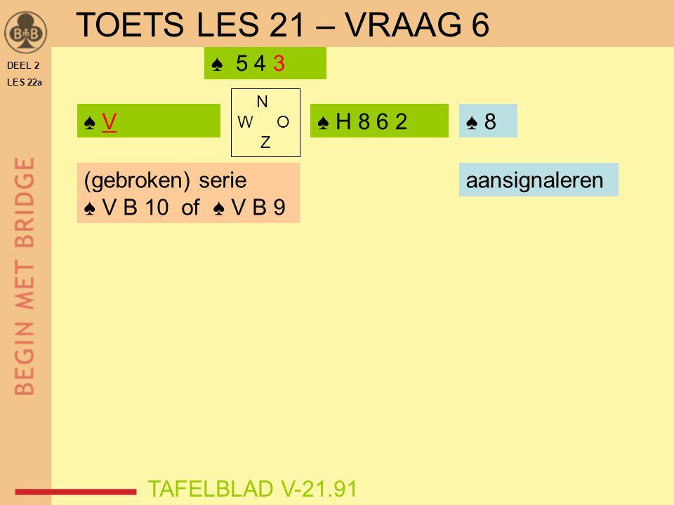 TOETS LES 21 – VRAAG 6 ♠ 5 4 3 ♠ V ♠ H 8 6 2 ♠ 8 ♠ (gebroken) serie
