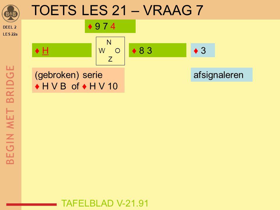 TOETS LES 21 – VRAAG 7 ♦ 9 7 4 ♦ H ♦ 8 3 ♦ 3 ♦ (gebroken) serie