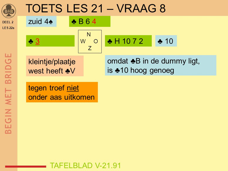 TOETS LES 21 – VRAAG 8 zuid 4♠ ♣ B 6 4 ♣ 3 ♣ H 10 7 2 ♣ 10 ♣