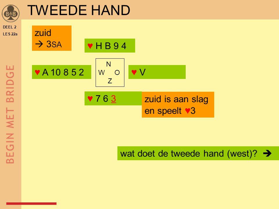 TWEEDE HAND zuid  3SA ♥ H B 9 4 ♥ A 10 8 5 2 ♥ V ♥ 7 6 3