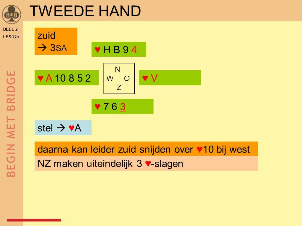 TWEEDE HAND zuid  3SA ♥ H B 9 4 ♥ A 10 8 5 2 ♥ V ♥ 7 6 3 stel  ♥A