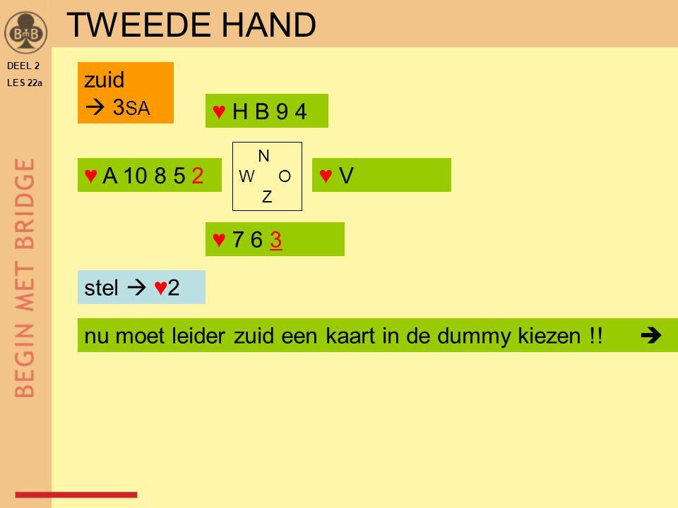 TWEEDE HAND zuid  3SA ♥ H B 9 4 ♥ A 10 8 5 2 ♥ V ♥ 7 6 3 stel  ♥2