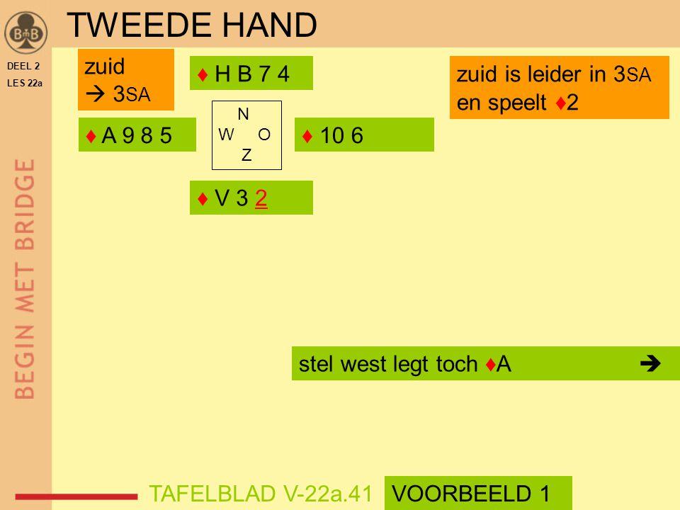 TWEEDE HAND zuid  3SA ♦ H B 7 4 zuid is leider in 3SA en speelt ♦2