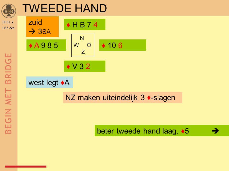 TWEEDE HAND zuid  3SA ♦ H B 7 4 ♦ A 9 8 5 ♦ 10 6 ♦ V 3 2 west legt ♦A